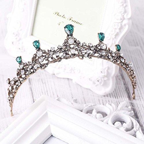 Tiara de boda simbólica, vintage, coronas de flores para novia para mujer (oro) HG-26