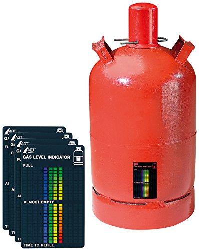 AGT Gasanzeiger: 4er-Set Gasstand-Anzeiger für Gasflaschen, 22-stufige Skala (Gasstandsanzeiger)