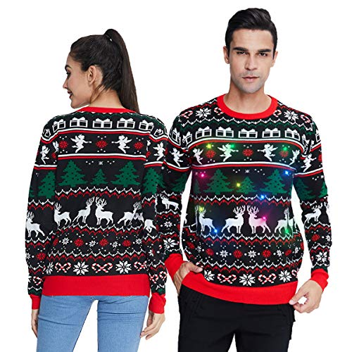 Womens Light Up Ugly Christmas Sweater Men Tacky Knitted Reindeer Pullover Jumper Adult Matching Xmas Shirt Snowflake Office Holiday Sweatshirt for Couples Black Red