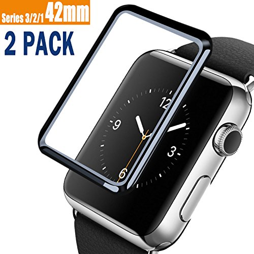 [2 Pack] Compatible with Apple Watch 42mm (Series 3/2/1) Tempered Glass Screen Protector, VUV Compatible with iWatch [3D Full Coverage] 9H Hardness Anti-Scratch, Scratch Resistant