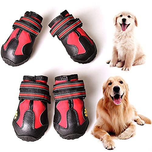 CovertSafe& Dog Boots for Dogs Non-Slip, Waterproof Dog Booties for Outdoor, Dog Shoes for Medium to Large Dogs 4Pcs with Rugged Sole Black-Red
