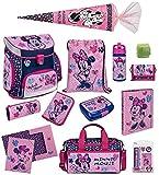 Familando Scooli Schulranzen-Set Disney Minnie Maus 18-TLG. mit Brotzeit-Dose, Trink-Flasche,...