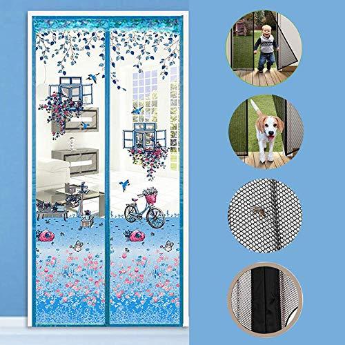 JFFFFWI Impresión de Puerta con mosquitera magnética con Cortina de Malla de Alta Resistencia, Cortina de Malla de Cinta mágica de fotograma Completo Anti-Mosquito parásito-Azul 37x79 Pulgadas (95x2