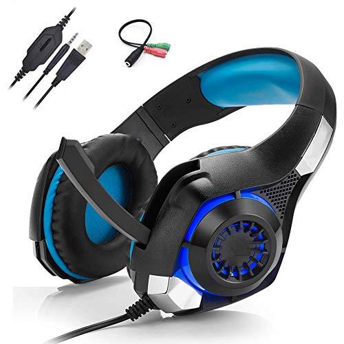 LED profesional de auriculares, reducción de ruido confortable, de 3,5 mm Peso ligero, crujiente sonido, con el micrófono, conveniente for la PC, ordenador portátil, Tablet, Smartphone, rojo PS4 kyman
