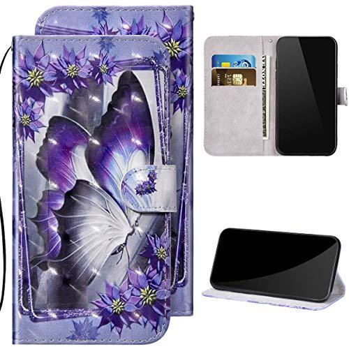 Kompatibel mit Samsung Galaxy Note 10 Lite Hülle Ledertasche Brieftasche Schutzhülle Flip Case,3D Glitzer Bunt Bemalt Muster PU Leder Klapphülle Tasche Handyhülle für Galaxy Note 10 Lite,Schmetterling