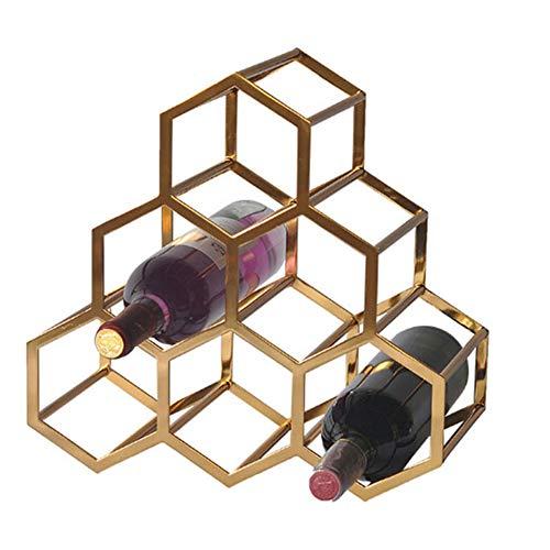 WYBFBYQ Metalen Wijnrek, Aanrechtblad Free-Stand Wijnbewaarhouder, Ruimtebesparende Beschermer voor Rode & Witte Wijnen 34×33 cm