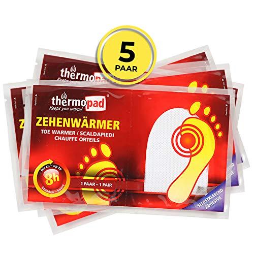 THERMOPAD Zehenwärmer – DAS ORIGINAL: 5 Paar Wärmepads für 8 Stunden Wärme I Sofort einsatzbereite Fußwärmer I Extra warmer Fusswärmer – ideal für Outdoor-Aktivitäten & Ski-Schuhe I Fuss-Wärmekissen
