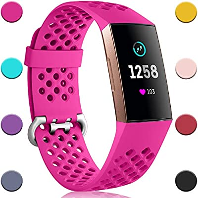 Nofeda Bands Compatible with Fitbit Charge 4 / Charge 3 / Charge 3 SE, Air Holes Breathable Sport Wristband Replacement for Fitbit Charge 3/ Charge 4 Fitness Tracker Women Men, Small, Rose Pink