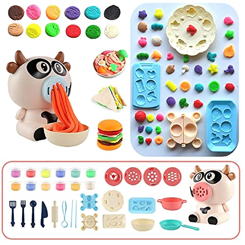 YaoYue Toys Playdough Kitchen Creations Noodle Maker & Kids Party Playset for Kids Ages 3 and up with 12-Pack of Non-Toxic Modeling Compound