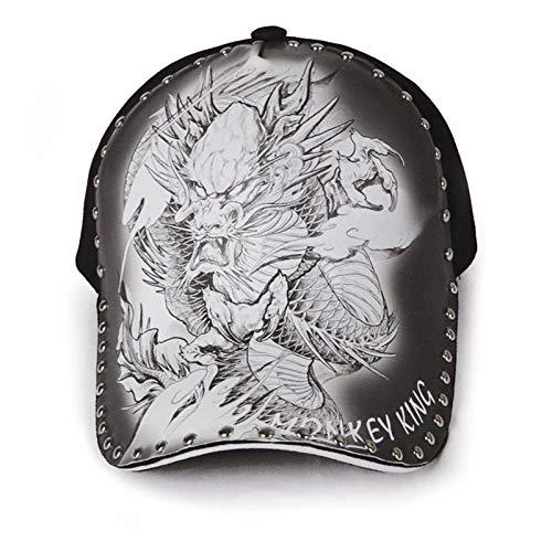 N\C Gorra de béisbol Hombre Tatuaje Dragón Sombrero Personalidad Moda Calle Gorra de Marea Ilustración Original Impresión Estilo Chino Sombrilla