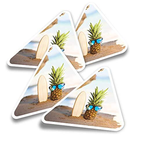 Pegatinas triangulares de vinilo (juego de 4) – Tabla de surf Piña Playa Dude Fun Calcomanías para ordenadores portátiles, tabletas, equipajes, reservas de chatarra, neveras #12317