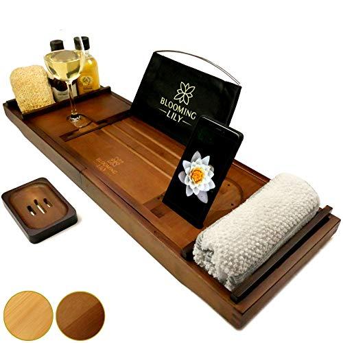 Blooming Lily Rutschfeste Badewannenablage aus Dunklem Holz - Mit Seifenschale und Komfortablen Extras - Dunkles Holz