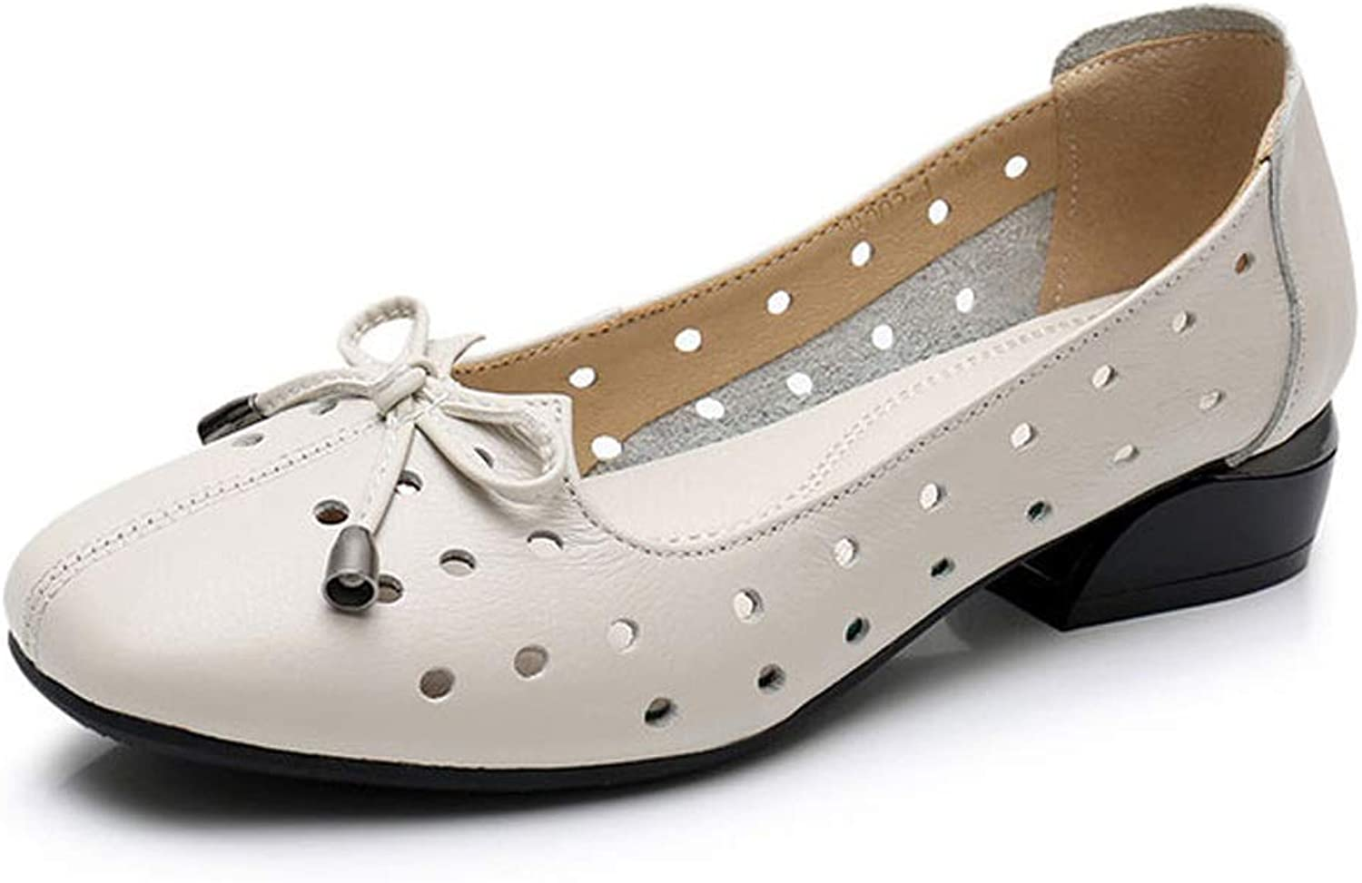 LANSEL Single shoes, Spring, Summer, Autumn, Squat, with Thick, Women's Shallow Mouth, Round Head, Breathable Small shoes