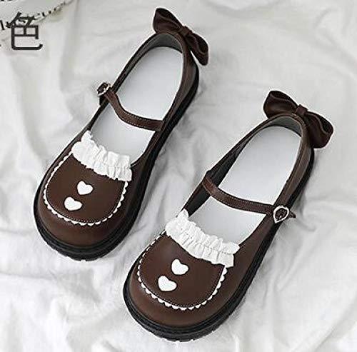 LIGEIAOGIAO Lolita Schuhe Round Toe Platform Damen Spitzenschuhe Bogen-Hitze_39