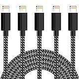 WUYA Cable de carga para teléfono, cable Lightning [5 unidades 0,9/0,9/2/2/3M] de nailon de carga rápida para iPhone 11, 11 Pro, XS, XS Max, XR, X, 8, 8 Plus, 7, 7 Plus, 6, 6 Plus, 5s, 5c, 5, SE