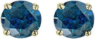 Dazzlingrock Collection Round Cut Blue Diamond Ladies Stud Earrings