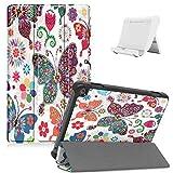 Shinyzone Hülle Kompatibel mit Amazon Fire HD 8 2020,Amazon Fire HD 8 Plus 2020 Tablet Hülle,Leder Trifold Ständer Magnetisch Befestigung Schutzhülle mit Auto Aufwachen/Schlaf,Schmetterling