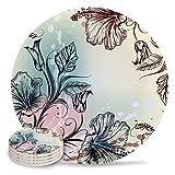 Posavasos de cerámica, diseño de flores de hibisco con piedra absorbente, de cerámica con parte trasera de corcho para tipos de tazas y tazas, posavasos de mesa redonda vintage (juego de 4)