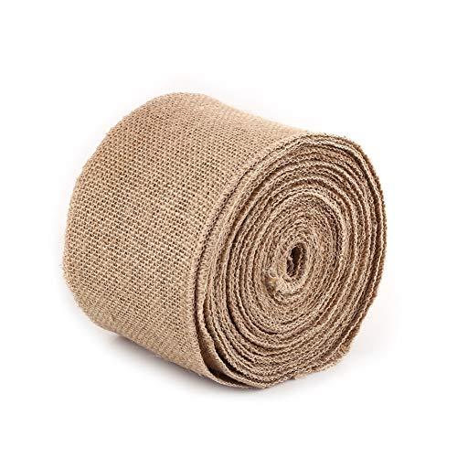 Rollos de cinta de yute, cintas de tela de arpillera, rollo de cinta rústica de tela de yute natural para fiestas, manualidades decorativas, manualidades hechas a mano, decoración navideña (10 cm)