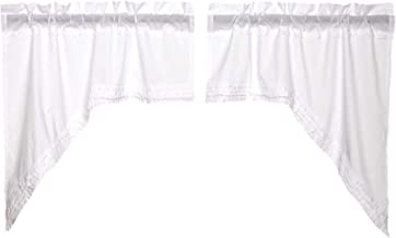 VHC Brands Classic Country Farmhouse Kitchen Window Curtains - White Ruffled Sheer White Swag Pair
