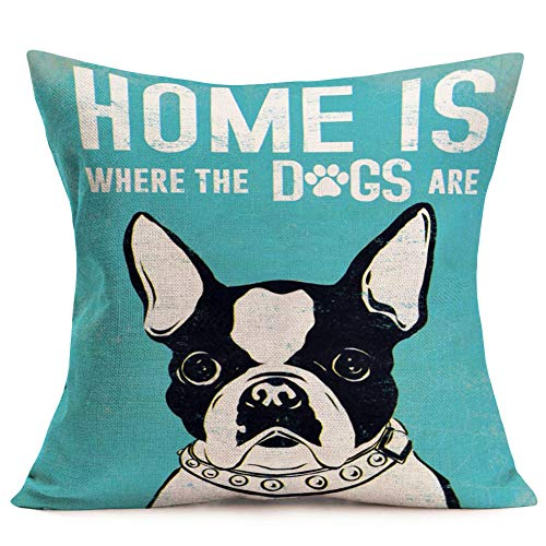 Throw Pillow Cover French Bulldog Pet with Classsical Saying Lettering Decorative Pillow Case Home Couch Decor 18x18 Inches Cotton Linen Square Pillowcase (Bulldog)