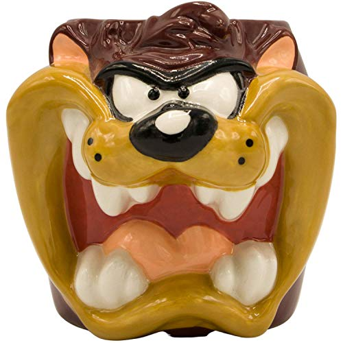 Silver Buffalo Looney Tunes Taz Face Ceramic 3D Sculpted Mug, 1 Count (Pack of 1), Brown