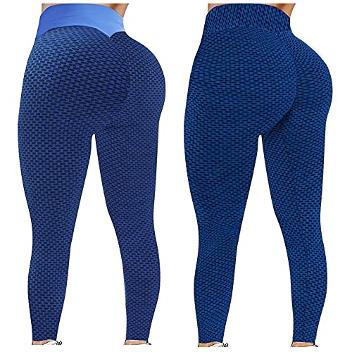 TYTUOO Leggings para mujer, pantalones de yoga, pantalones Jeggings, levantamiento de glúteos, glúteos flacos, de secado rápido, tela jacquard elástica, 2 unidades