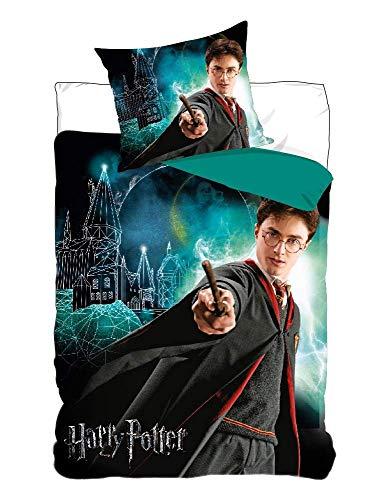 Setino Parure de lit Harry Potter 100% Coton - Brille dans Le Noir - Housse de Couette 140x200 cm + Taie d'oreiller 65x65 cm