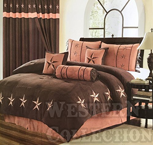Western Peak Oversize Embroidery Western Star Comforter Bedding 7 Piece Set (Queen, Brown Tan)
