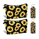 2 Pieces Sunflower Makeup Pouch Cosmetic Bag Toiletry Bag with 2 Pieces Lip Balm Holder Keychain Sunflower Lipstick Keychain for Men and Women