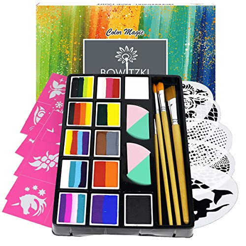 Bowitzki Professional Face Painting Kit for Kids Adults12 x 10gm Face Paint Set Stencil One Stroke Split Cakes Palette Non Toxic Rainbow Flora Dolphin Unicorn Body Paint Makeup Halloween Christmas