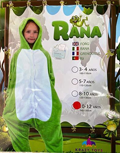 KRAZY TOYS Pijama Animal Entero Unisex para Niños como Ropa de Dormir-Traje de Disfraz para Festival de Carnaval (Rana, 5-7)