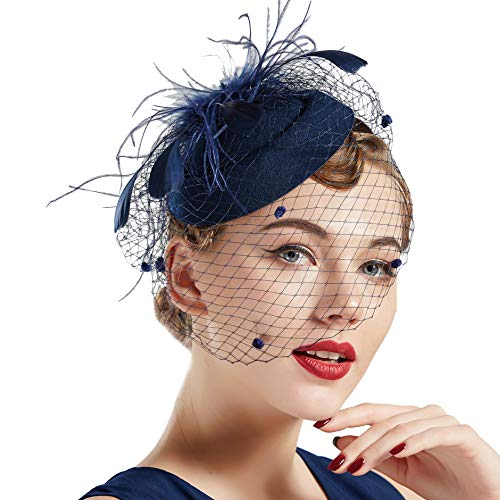 Coucoland Feder Fascinators Hut Damen Blumen Mesh Elegant Hochzeit Fascinator Haarreif Cocktail Tee Party Accessoires (Navy Blau)