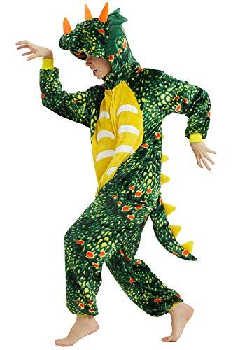 YAOMEI Adulto Unisexo Onesies Kigurumi Pijamas, Mujer Hombres Traje Disfraz Animal Pyjamas, Ropa de Dormir Halloween Cosplay Navidad Animales de Vestuario (S, B-Darkgreen Dinosaur)