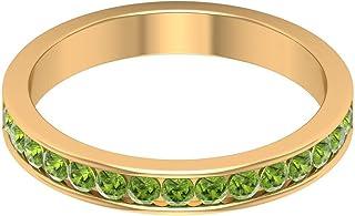Rosec Jewels - Anillo de peridoto creado en laboratorio de 3/4 quilates, anillo de eternidad, anillo de boda de oro (calid...