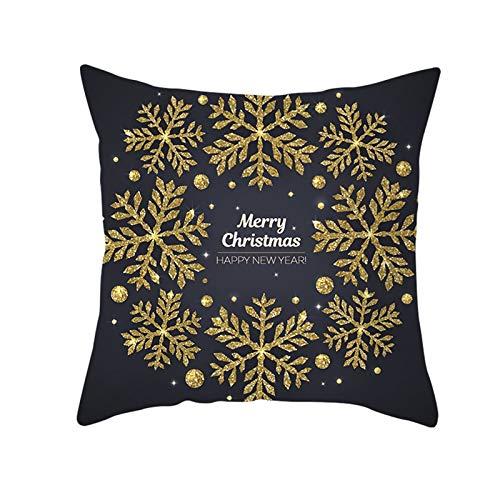 Aimsie Fundas de cojín, diseño navideño con copos de nieve, poliéster y algodón, 45 x 45 cm, color dorado y gris oscuro