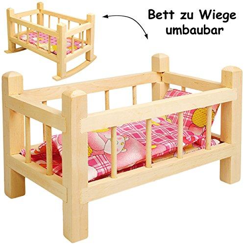 alles-meine.de GmbH 2 in 1: Puppenbett & Puppenwiege - aus Holz - UMBAUBAR - mit Bettzeug -  Mädchen Farben  - 34 cm lang - Bett aus Naturholz - für Puppen - Decke & Kopfkissen..