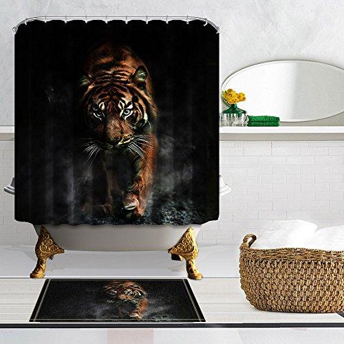 nymb Animal Decor 3D Tiger Polyester-Schimmelresistent-Duschvorhang Anzug mit 40x 60cm Flanell rutschfeste Badematte Fußmatte