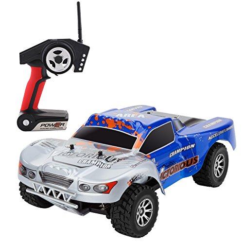 Metakoo RC Auto Off Road 100M Telecomando Auto 4WD ad Alta Velocità 70 km/h Veicolo 1:18 Scala 10 Minuti Gioco del Tempo Veloce Race Truck 2.4GHz Elettrico Buggy Hobby Auto-Blu