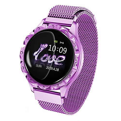 URJEKQ Temperatura De La Mujer Reloj Smart Watch Full Touch Fitness Tracker IP67 Impermeable Reloj Inteligente De Los Hombres,Púrpura
