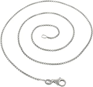 925 Sterling Silver Italian 1.5mm - 3.5mm Round Box Chain, FREE Microfiber Cloth, Solid Link Rhodium Necklace 16