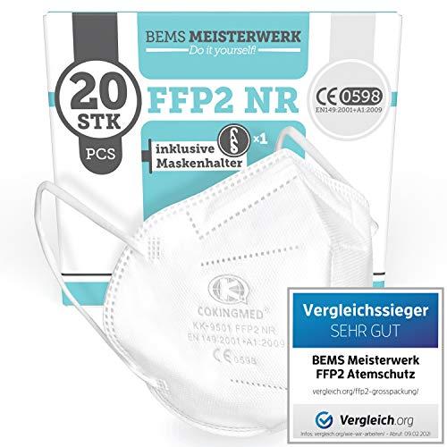 FFP2 Maske CE Zertifiziert - 20x FFP2 Masken (NR) - Inkl. Clip für höchsten 5-lagige Premium Atemschutzmaske FFP2 ohne Ventil für maximale Sicherheit - Mundschutz FFP2 BEMS Meisterwerk