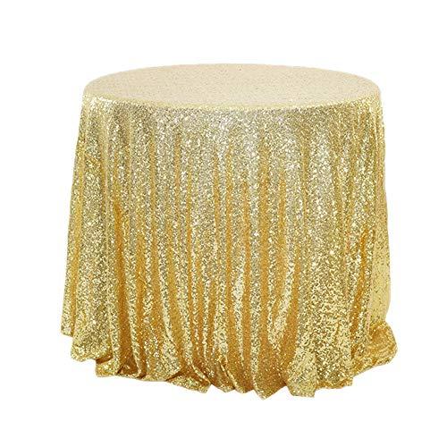 YFCH Rund Pailletten-Stoff Tischtuch Tischdecke Tischwäsche für Geburtstage Hochzeit Party Event, Gold, ø 100cm