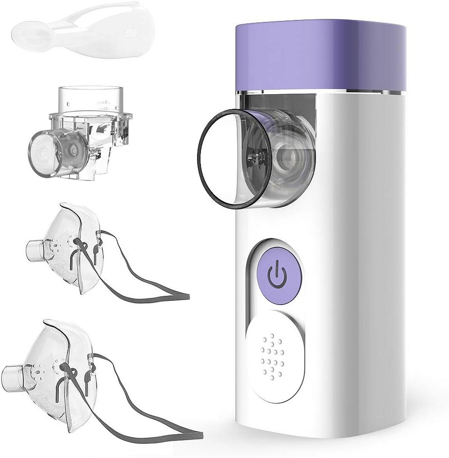 Nebulizador HLY Eléctrico Inhalador Portatil Ruido Bajo USB Recargable con Boquilla y 2 Máscaras para Adultos y Niños