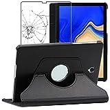 ebestStar - Funda Compatible con Samsung Galaxy Tab S4 10.5 SM-T830, SM-T835 Carcasa Cuero PU, Giratoria 360 Grados, Función Soporte, Negro +Cristal Templado [Aparato: 249.3x164.3x7.1mm 10.5']