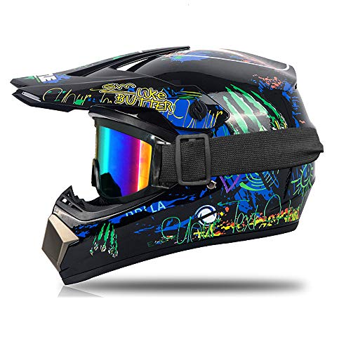 Casco de motocross infantil para adulto, incluye guantes, goggle, casco para moto,...