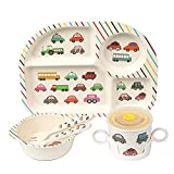 Shopwithgreen 5Pcs/Set Bamboo Kids Dinnerware Set - Children Dishes - Food Plate Bowl Cup Spoon Fork...
