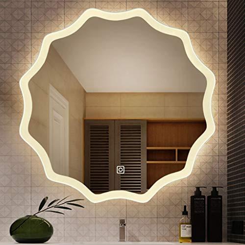 Espejo baño Pared Iluminado luz LED retroiluminada Espejo de baño montado en la pared de maquillaje Espejo con el control de sensores táctiles, a prueba de polvo anti-niebla de luz blanca y cálida luz