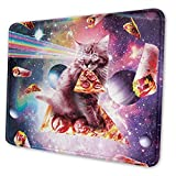 Espace Galaxy Cat Riding Pizza Taco Cosmic Ray Thème Bureau Gaming Mouse Pad Gamer Accessoires Informatiques Cool Mat Petit 25 X 30 Cm
