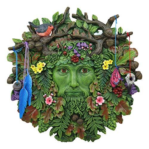 Ebros Brigid Ashwood Colorful Nature Spirit God Celtic Greenman Hanging Wall Decor Plaque 12' High Wiccan Tree Of Life Forest Tree Ent Decorative Sculpture Mythical Fantasy Cernunnos Horned God
